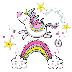 Cute magical unicorn walking on the rainbow, doodle nursery art.Vector design isolated on white background. Print for t-shirt or sticker. Romantic hand drawing illustration for children