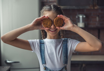 Girl and cookies