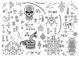 Design set with mystical symbols, skull, snake and abstract patterns. Esoteric, occult and Halloween concept with sacred geometry elements, graphic vector illustrations for music album cover, t-shirts