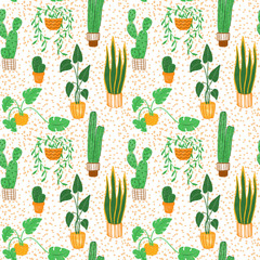 Colored pencils hand-drawn colorful seamless pattern with house plants. Warm colors ornament with succulents and other plants in naive childlike style.