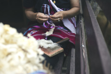 Women are made with wool yarn. Crafts of Thailand