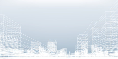 Abstract wireframe city background. Perspective 3D render of building wireframe. Vector. Wall mural
