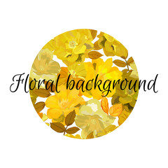 Floral background in circle with flowers patern. Hand dtawn yell