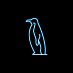 penguin icon in neon style. One of sea animals collection icon can be used for UI, UX