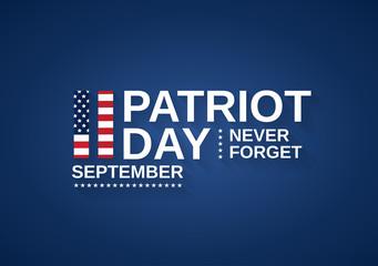 Patriot Day USA banner, 9/11. Never forget. Vector illustration.