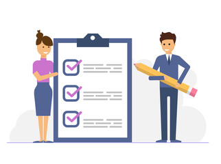 business man with a giant pencil marked checklist on a clipboard, vector illustration