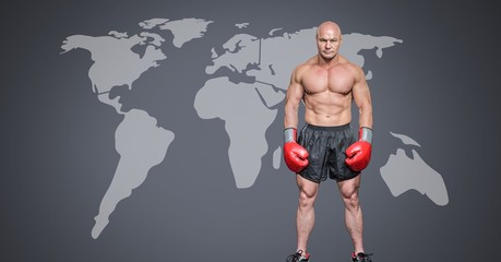 Male boxer with world map