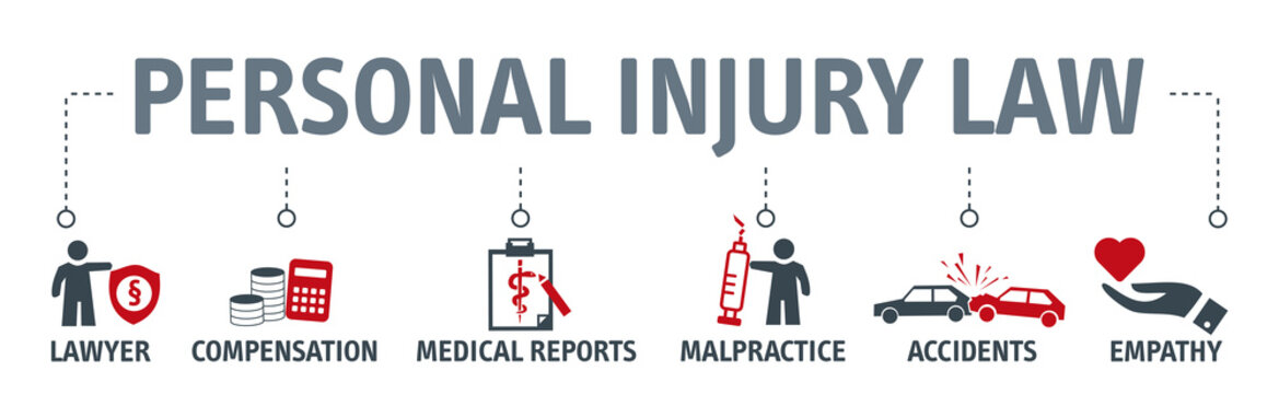 Personal injury law concept. Banner with icons