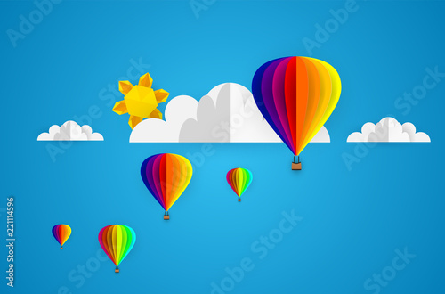Vector Origami Made Colorful Hot Air Balloon And Cloudper Art And