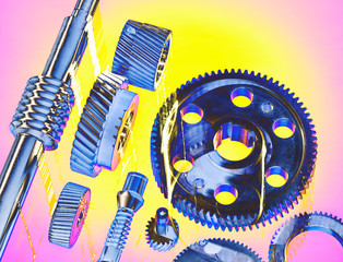 Solarised still life of precision engineered cogs and gears