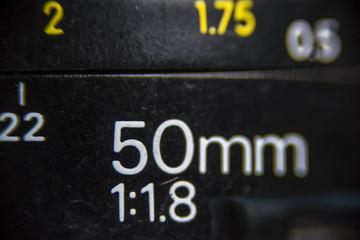 50 mm focal distance, objetive, lens