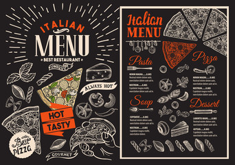 Pizza restaurant menu on blackboard. Vector food flyer for bar and cafe. Design template with vintage hand-drawn illustrations.