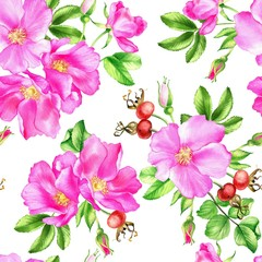 Watercolor illustration of leaves, flowers and rose hip berries.Seamless hand drawn pattern.