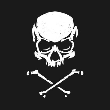 Skull and crossbones in grunge style on a dark background.