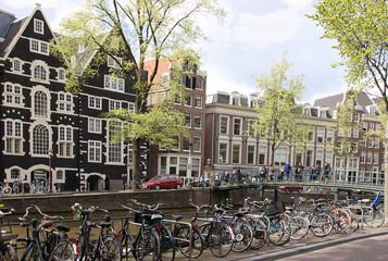 Asterdam, Bicycles, Canal, Bridge, People