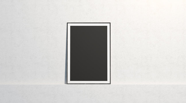 Blank black paper poster mock up, stand at white gallery wall, isolated, 3d rendering. Empty art placard with frame in museum mockup, front view. Clean photo cadre canvas template