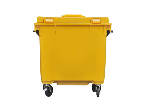 yellow plastic trash can isolated on white background