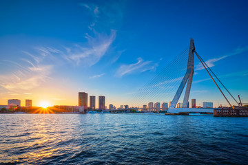 Foto auf AluDibond Rotterdam Erasmus Bridge on sunset, Rotterdam, Netherlands