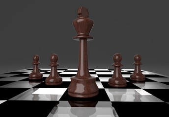 Chess business concept, leader & success, 3d illustration