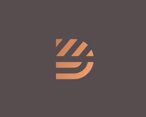 Fototapeta Letter D vector line logo design. Creative minimalism logotype icon symbol. obraz