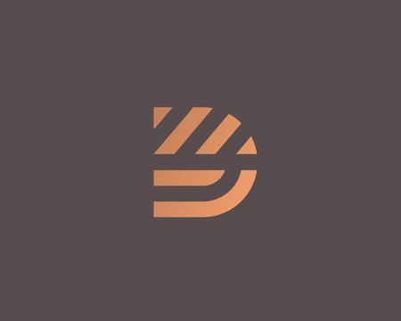 Letter D vector line logo design. Creative minimalism logotype icon symbol.