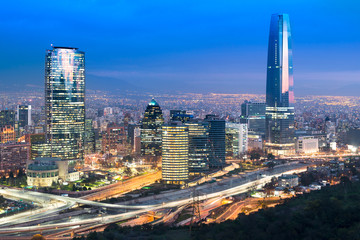Printed roller blinds Central America Country Skyline of Santiago de Chile with modern office buildings at financial district in Las Condes.