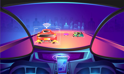 Automotive empty cockpit with sensor technology on night view urban city background.