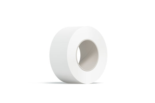 Blank white adhesive tape mockup, stand isolated, 3d rendering. Clear scotch roll mock up. Empty sticky duct tape template. Plain fix ribbon for repair stickers