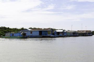SIEM REAP, CAMBODIA - Floating village on Tonle Sap Lake. Siem Reap Cambodia.