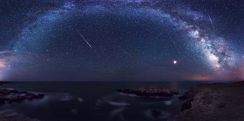 Milky Way and the Perseids / Long time exposure night landscape with planet Mars and Milky Way Galaxy during the Perseids flow above the Black sea, Bulgaria
