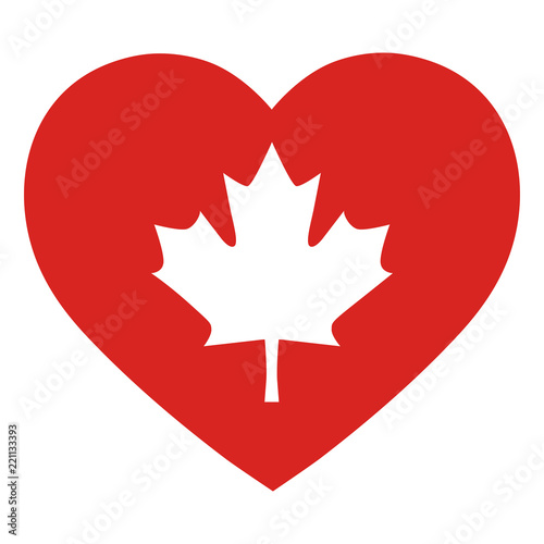 Illustration Of A Maple Leaf Symbol Of Canada On A Red Heart