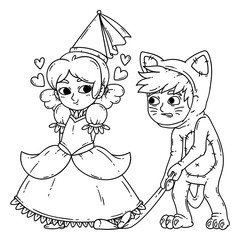 Boy and girl in halloween costumes princess and cat.