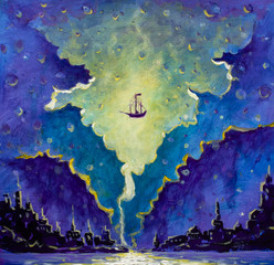 Old pirate ship, Peter Pan in space over black night city painting, star wars drawing
