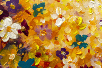 Scenic watercolor background, floral composition orange painting