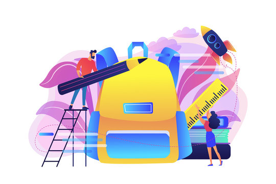 Students put pencil and ruler into backpack. Back to school bash services, free backpacks and school supplies, preparing for new school year concept, violet palette. Vector isolated illustration.