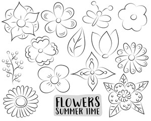 Floral set. Hand drawn flowers in a cartoon style. Black and white outline coloring page kids game. Vector illustration.