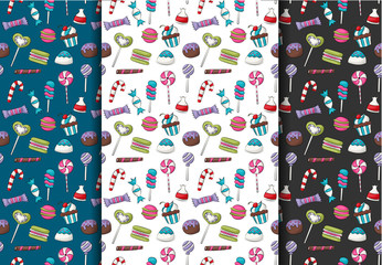 Candy repeat seamless pattern, Background or wallpaper in a cartoon style. Vector illustration.