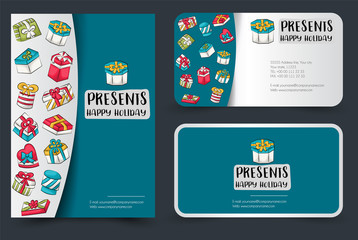 Gift boxes flyer and banner or business card set. Poster template for a party invitation. Calligraphic inscription. Vector illustration.