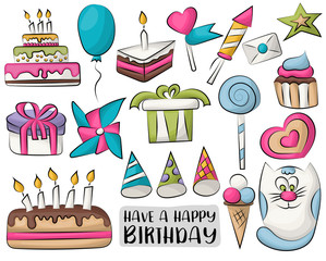 Birthday icon elements and stickers. Vector illustration.
