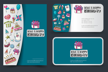 A set of flyer and cards. Banners template for ad, invitation, sale, web. Mockup layout. Vector illustation.