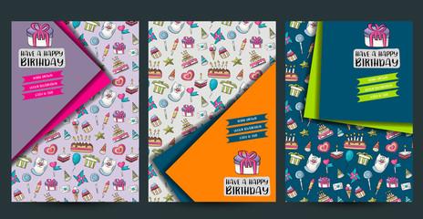 A set of birthday flyers. Anniversary brochure template for ad, invitation, sale, web. Mockup layout. Vector illustation.