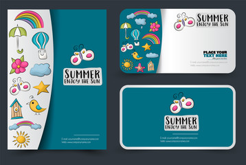Flyer and busines cards set. brochure and banners for web, advertisement, corporate idontity style. Vector illustration.