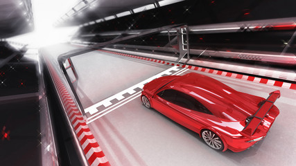 red sport car rides through finish line, racing sport car rendering 3D illustration