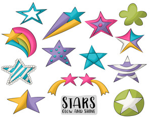 Cute colorful stars. Cartoon hand drawn set of icons and objects. Baby and children design concept. Vector illustration.