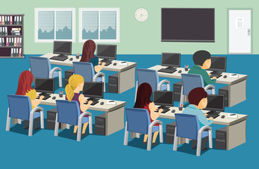 Interior of education Center. Company staff training. School room with student and computers. Vector cartoon simple illustration.
