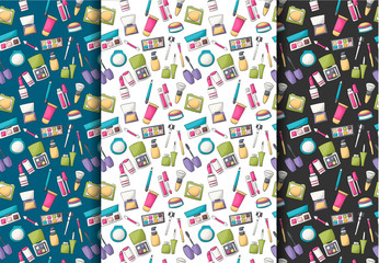 Makeup and beauty seamless pattern. Colorful girly and childish decor repeat background. Hand drawn cartoon style design concept. Vector illustration.