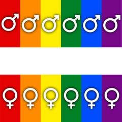 Rainbow gay pride flag banner, Symbol of sexual minorities, man and woman