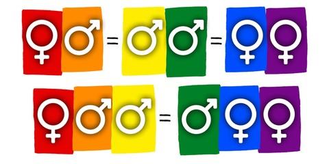 Rainbow gay pride flag banner equation,  Symbol of sexual minorities, man and woman