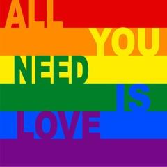 Rainbow gay pride flag, Symbol of sexual minorities, ALL YOU NEED IS LOVE
