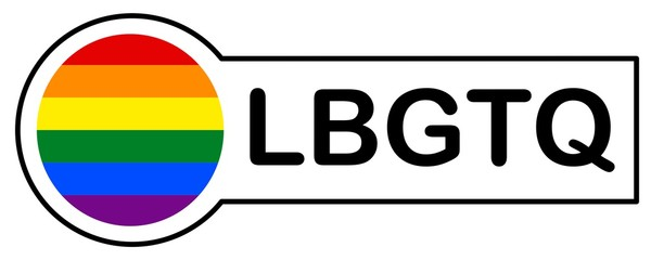 Sticker with Gay Rainbow Flag, LBGTQ, on white background